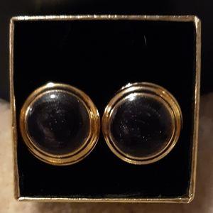 VINTAGE PARK LANE BLACK % GOLD IRIDESCENT EARRINGS